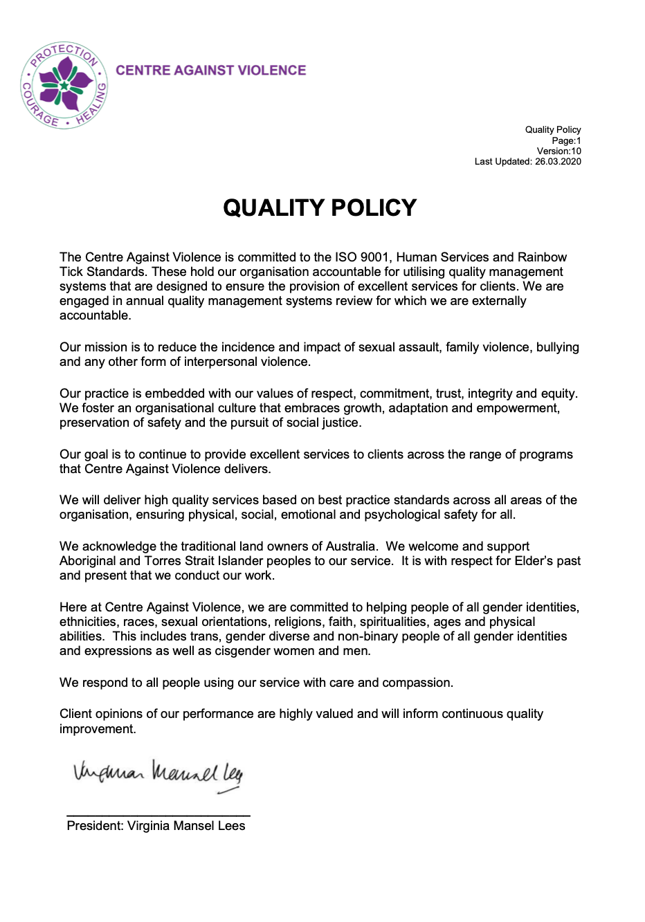 Centre Against Violence Quality Policy